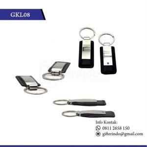 Gantungan Kunci Kulit Kombinasi Metal